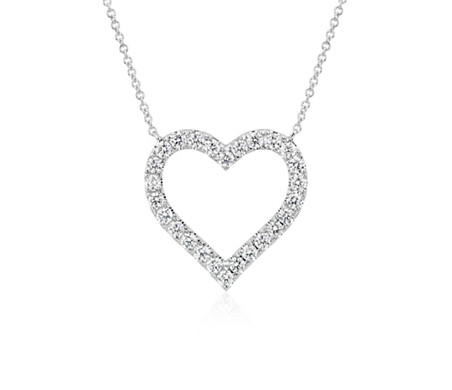 Diamond Heart Pendant in 14k White Gold (1 ct. tw.)