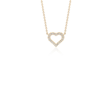 Mini Heart Diamond Pendant in 14k Yellow Gold