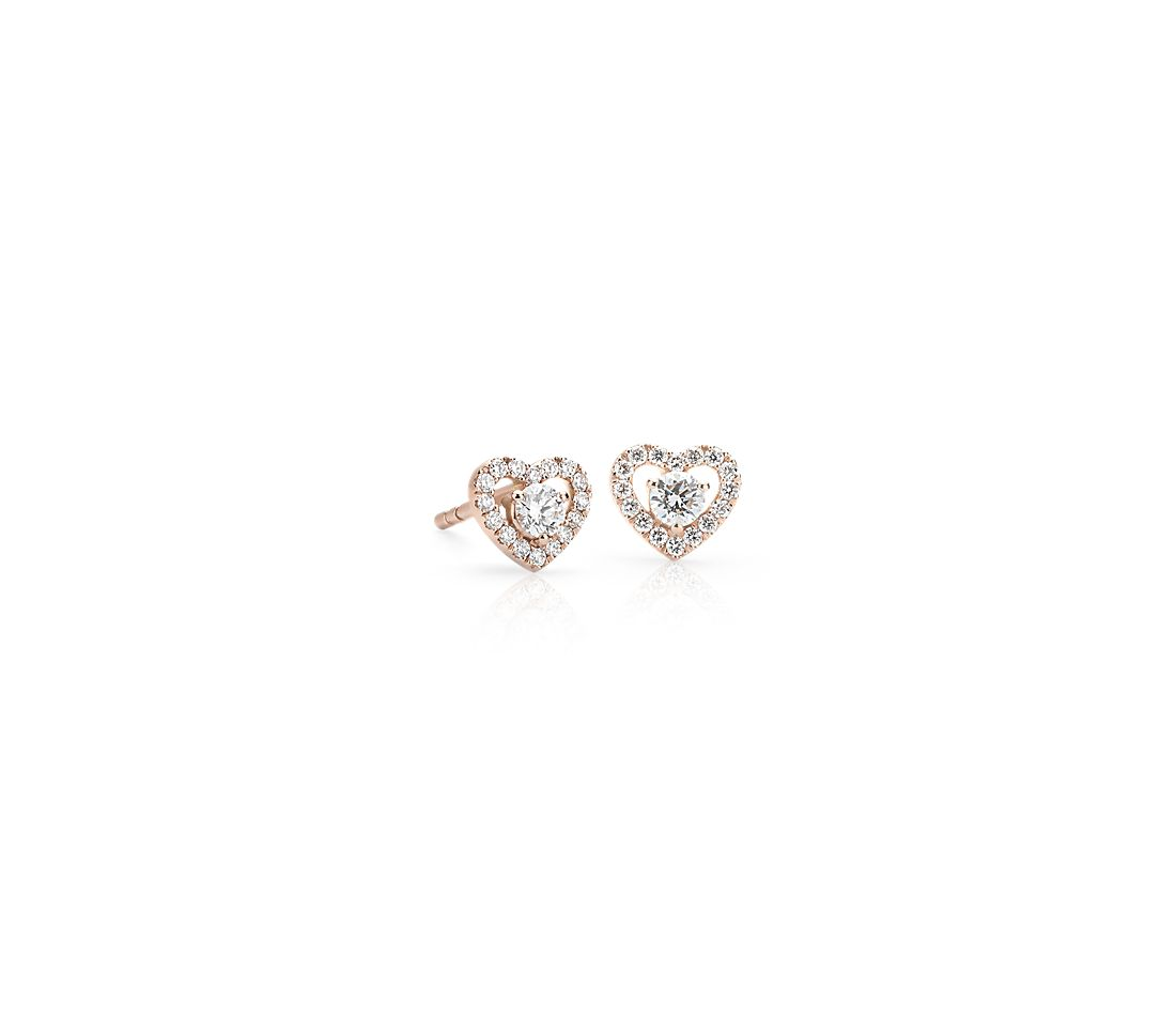 Petite Diamond Pavé Heart Stud Earrings in 14k Rose Gold