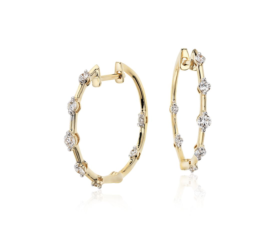 Blue Nile Studio Diamond Hoop Earrings 18k Yellow Gold (3/8 ct. tw.)