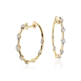 Blue Nile Studio Diamond Hoop Earrings 18k Yellow Gold (2/5 ct. tw.)