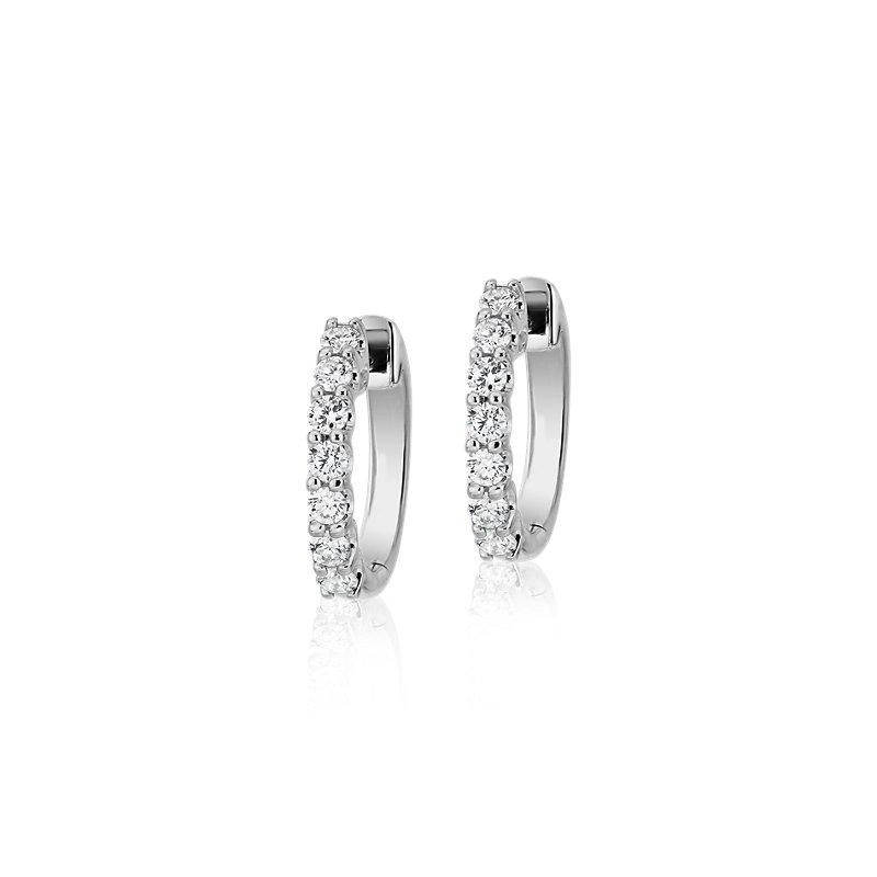 Diamond Hoop Earrings in 18k White Gold (1/2 ct. tw.)- G/SI
