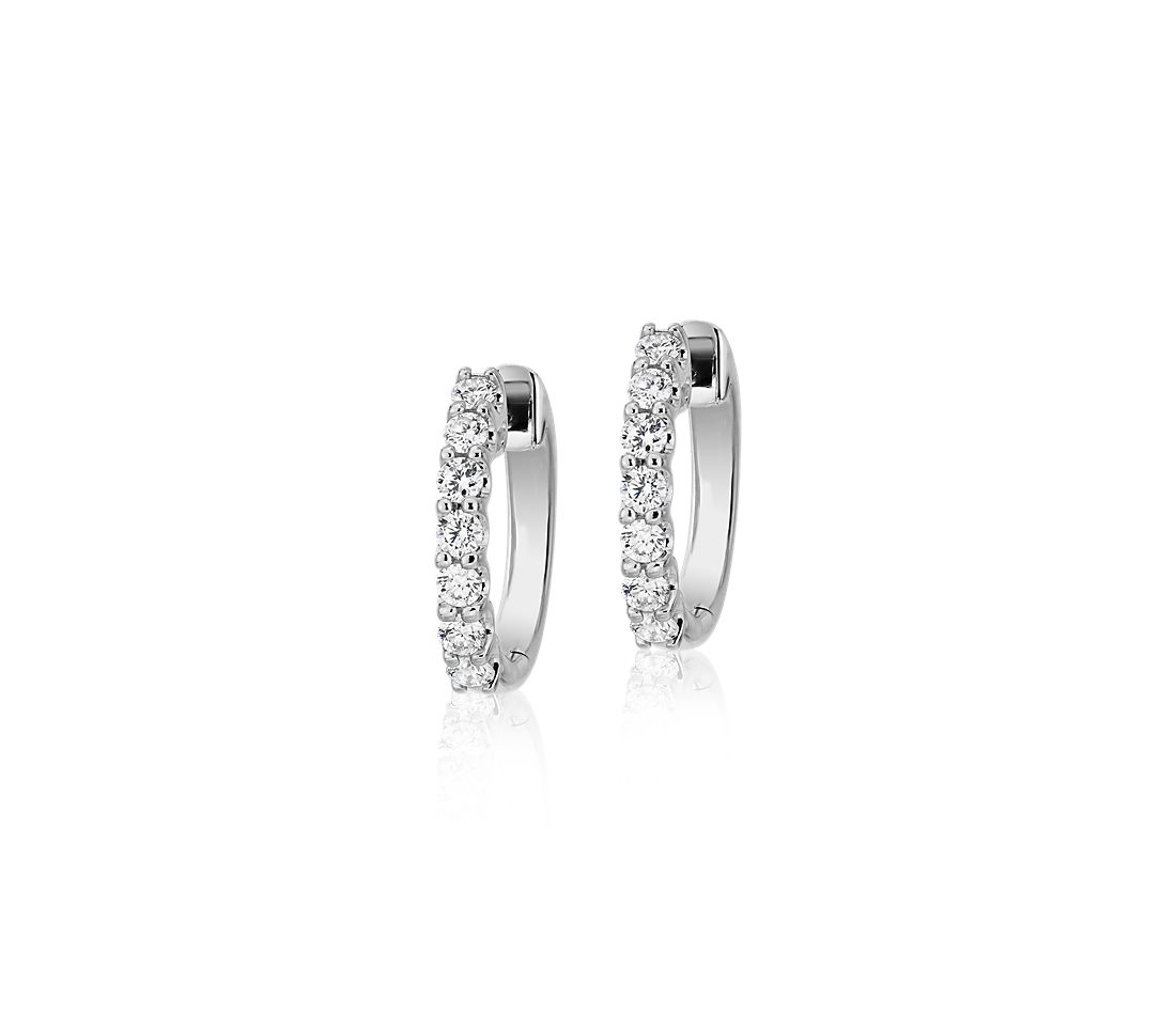 Diamond Hoop Earrings in 18k White Gold (1/2 ct. tw.)- G/SI
