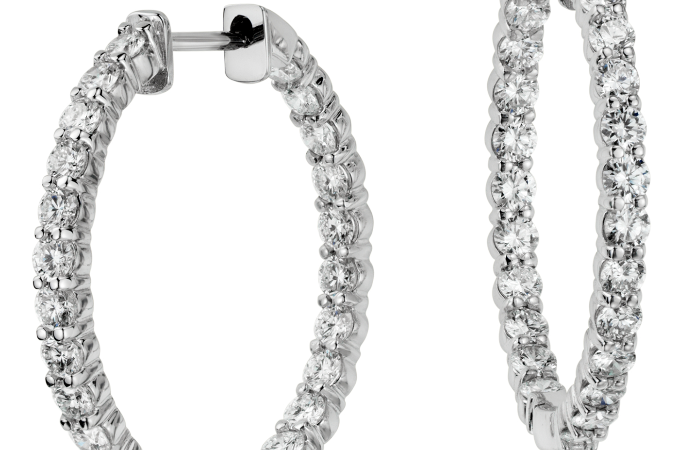 Aretes tipo argolla de diamantes en oro blanco de 18 k (2 qt. total)