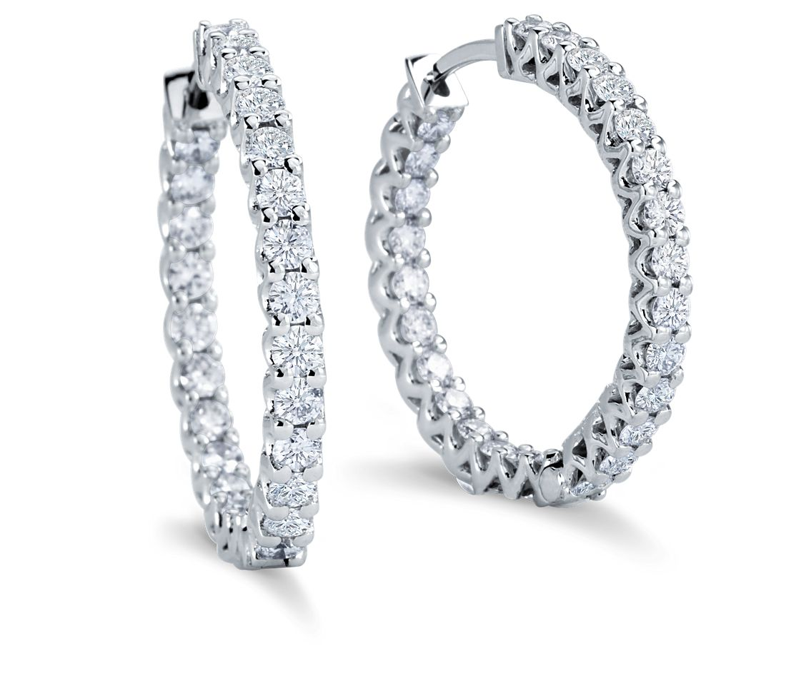 Diamond Eternity Hoop Earrings In 18k White Gold 2 1 4 Ct Tw