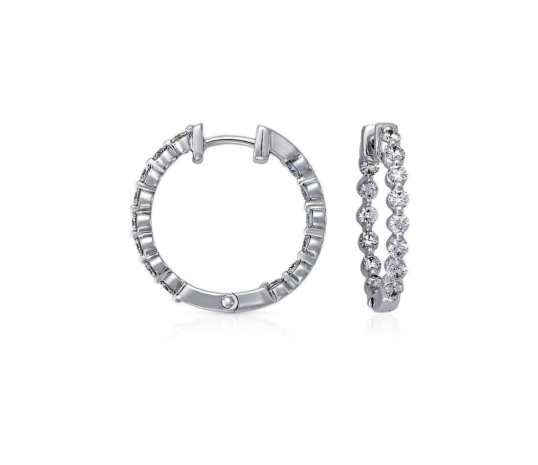 Floating Diamond Hoop Earrings in 18k White Gold (1 ct. tw.)