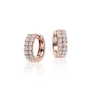Aretes tipo argolla de diamantes pequeños en oro rosado de 14k (3/4 qt. total)
