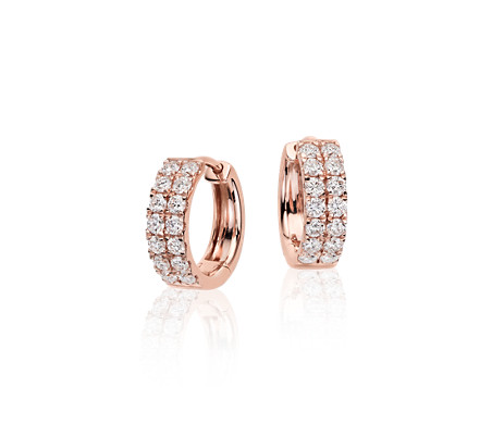 Petite Diamond Hoop Earrings in 14k Rose Gold (3/4 ct. tw.)