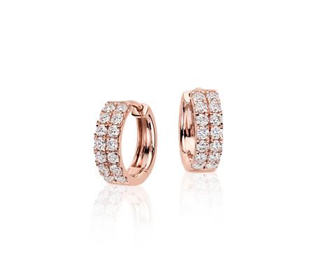 14k 玫瑰金小巧钻石圈形耳环<br>(3/4 克拉总重量)
