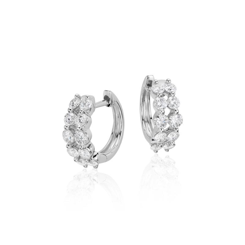 Two Row Diamond Hoop Earrings in 14k White Gold (1 ct. tw)