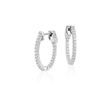 Blue Nile Mini Diamond Pave Hoop Earrings in 14k White Gold (1/3 ct. tw.) OVzhU