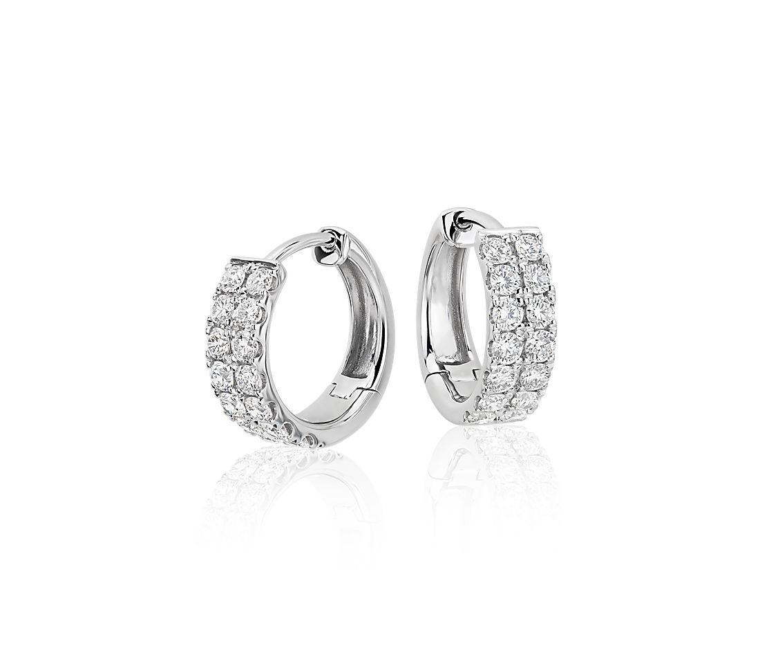 Petite Diamond Hoop Earrings In 14k White Gold 3 4 Ct Tw