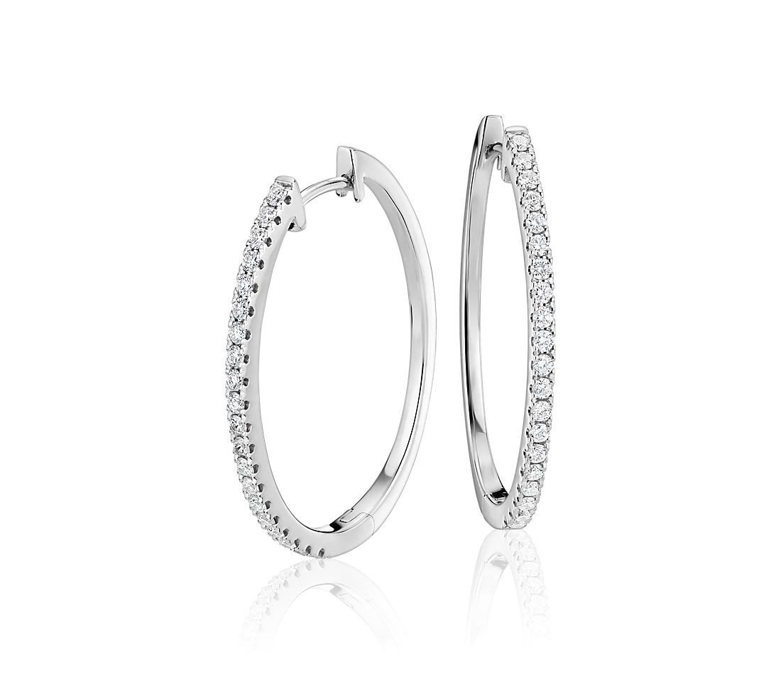 Diamond Hoop Earring In 14k White Gold 1 2 Ct Tw