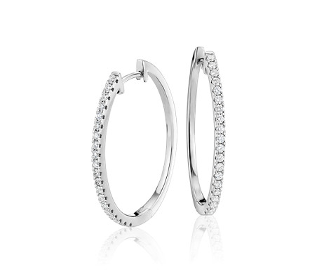 Diamond Hoop Earring in 14k White Gold (1/2 ct. tw)