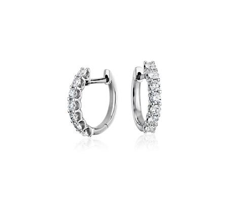Blue Nile Petite Diamond Huggie Hoop Earrings in 14k White Gold (1/10 ct. tw.) mOJktKm