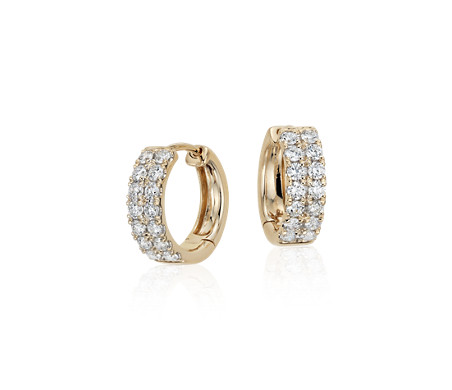 Blue Nile Hoop Earrings in 14k Tri-Color Gold (3/4) RX015l