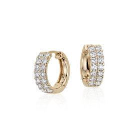 Petites créoles diamant en or jaune 14carats (3/4carat, poids total)
