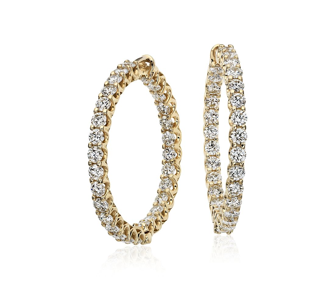 Diamond In and Out Hoop Earrings in 18k Yellow Gold (4.65 ct. tw.)