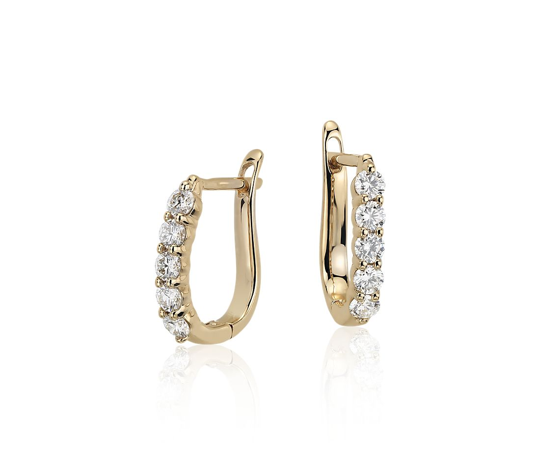 Diamond Hoop Earrings In 18k Yellow Gold 3 4 Ct Tw