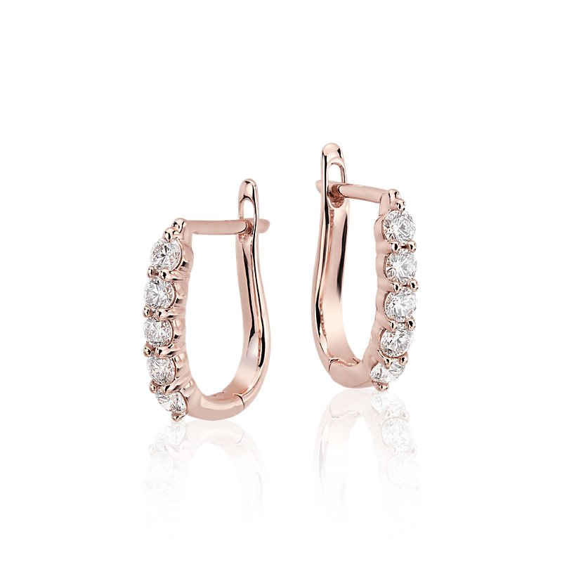 Diamond Hoop Earrings in 18k Rose Gold (3/4 ct. tw.)
