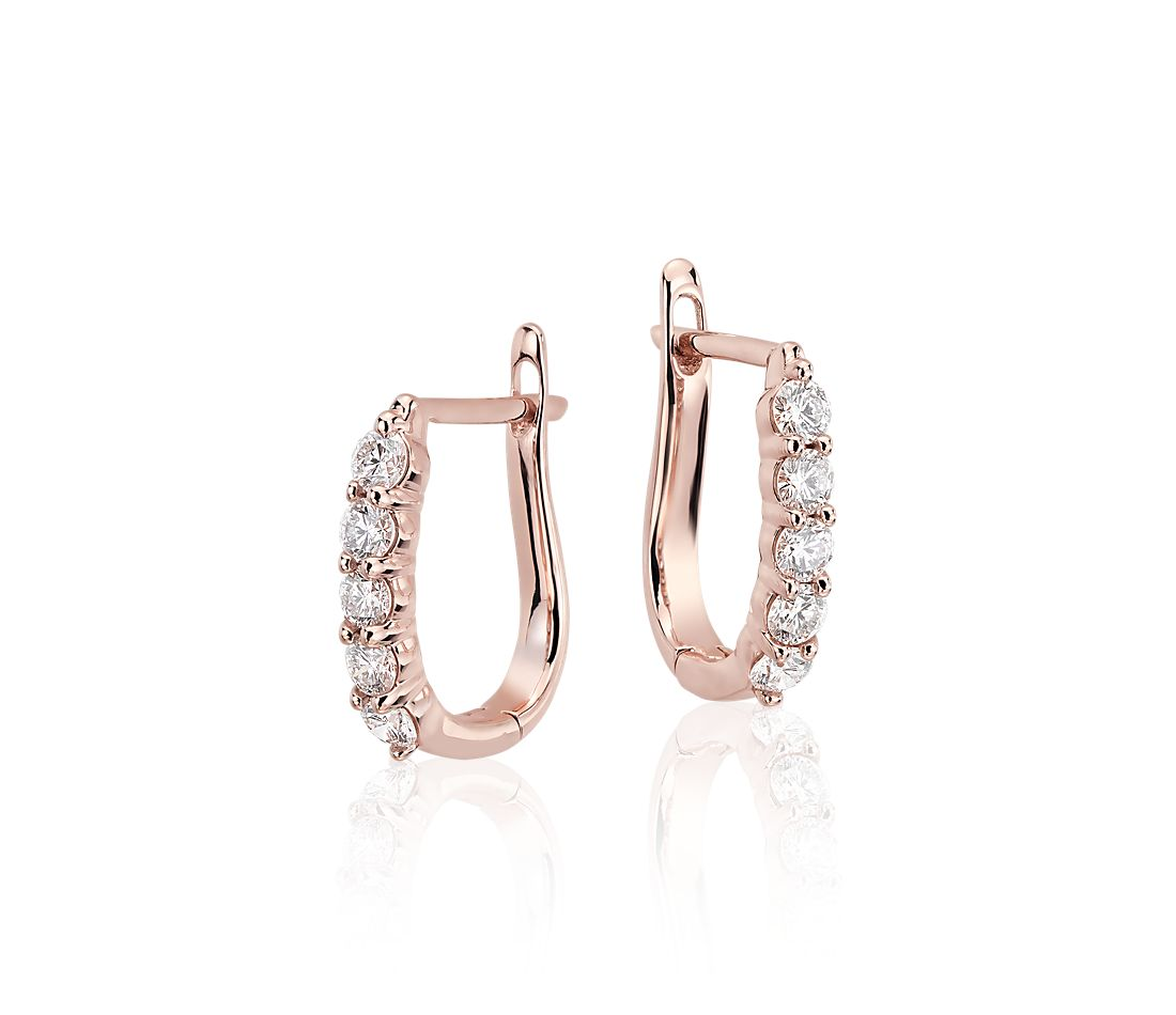 Diamond Hoop Earrings In 18k Rose Gold 3 4 Ct Tw