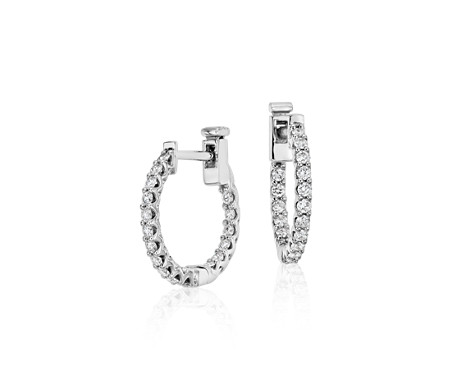 Classic Diamond Hoop Earrings in 18k White Gold