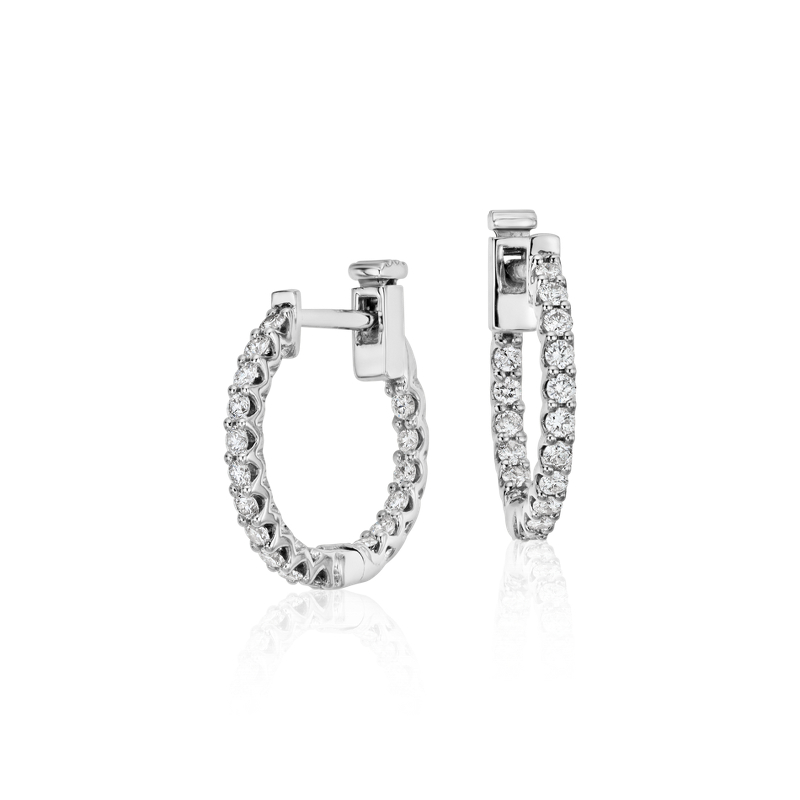 Classic Diamond Hoop Earrings in 18k White Gold (1/2 ct. tw.)