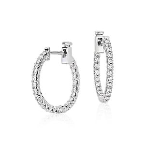 Classic Diamond Hoop Earrings in 18k White Gold (3/4 ct. tw.)