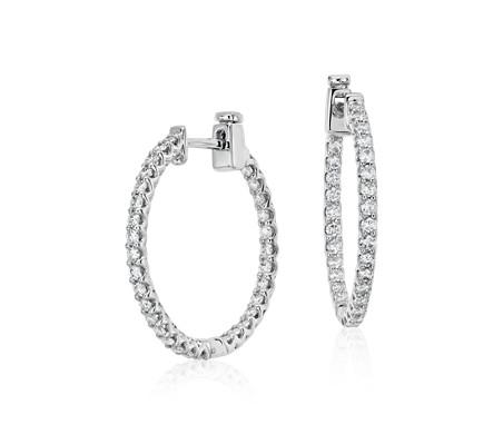 18k 白金 經典鑽石耳環<br>( 1 克拉總重量)