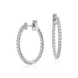 Créoles diamant classiques en or blanc 18carats (1carat, poids total)