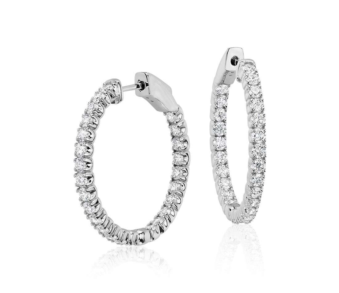 Diamond Hoop Earrings In 18k White Gold F Vs2 2 Ct Tw