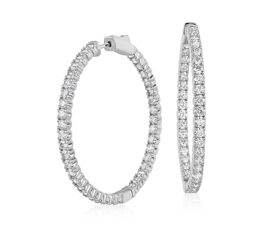 Diamond Hoop Earrings In 18k White Gold F Vs2 4 Ct Tw