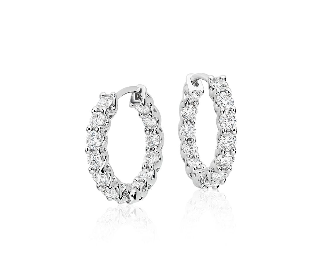 Diamond Hoop Earrings in 18k White Gold (1 3/4 ct. tw.)