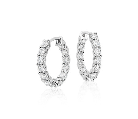 Diamond Hoop Earrings in 18k White Gold (1.75 ct. tw.)