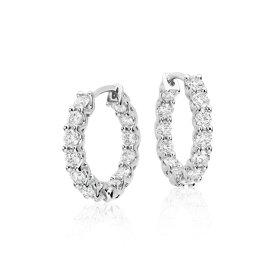 Aretes tipo argolla de diamantes en oro blanco de 18 k (1,75 qt. total)