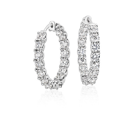 Diamond Hoop Earrings in 18k White Gold (5 ct. tw.)
