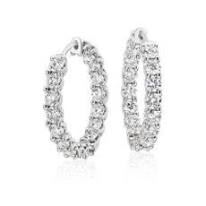 Diamond Hoop Earrings in 18k White Gold (5 ct. tw.)