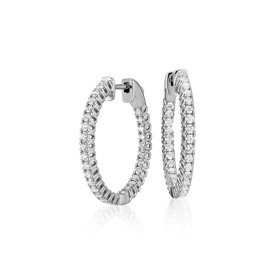 Diamond Hoop Earrings in 18k White Gold - F / VS2