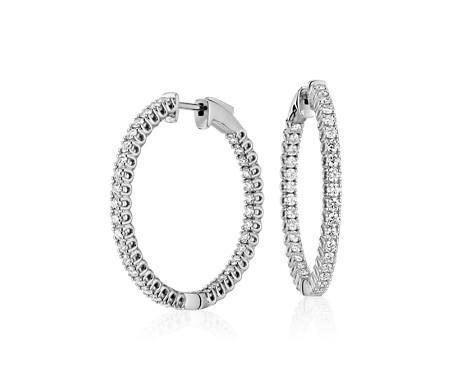 Diamond Hoop Earrings in 18k White Gold - F / VS (2 ct. tw.)
