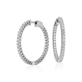 Diamond Hoop Earrings in 18k White Gold - F / VS (2 ct. tw.)