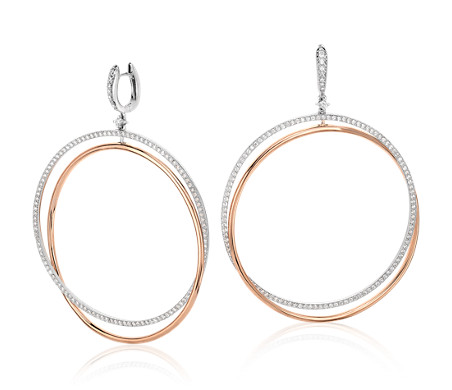 Two Tone Double Hoop Earrings In 18k White And Rose Gold 1 94 Ct Tw