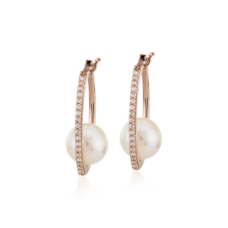 Diamond Hoop Earrings with Floating Freshwater Cultured Pearl in