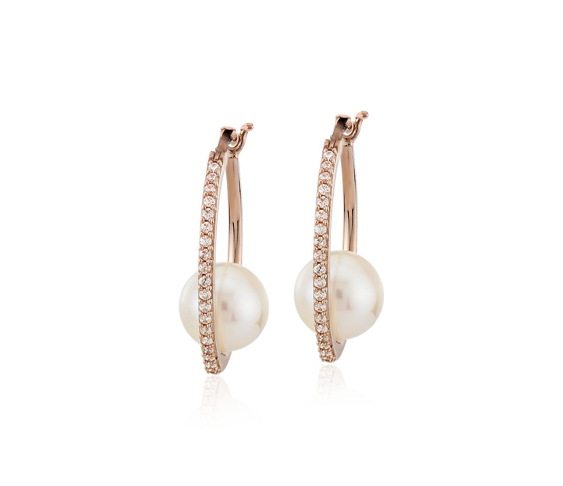 Diamond Hoop Earrings with Floating Freshwater Cultured Pearl in 14k Rose Gold (7.5-8mm)