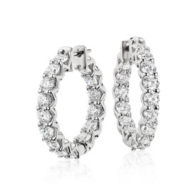 NEW Blue Nile Signature Diamond Eternity Hoop Earrings in Platinum (4.5 ct. tw.)