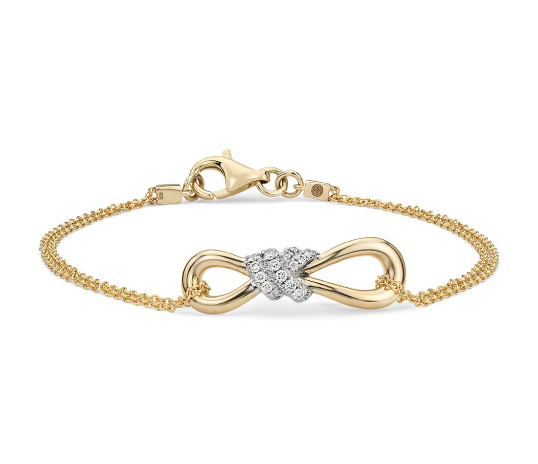 Diamond Infinity Chain Bracelet In 14k Yellow Gold 1 6 Ct