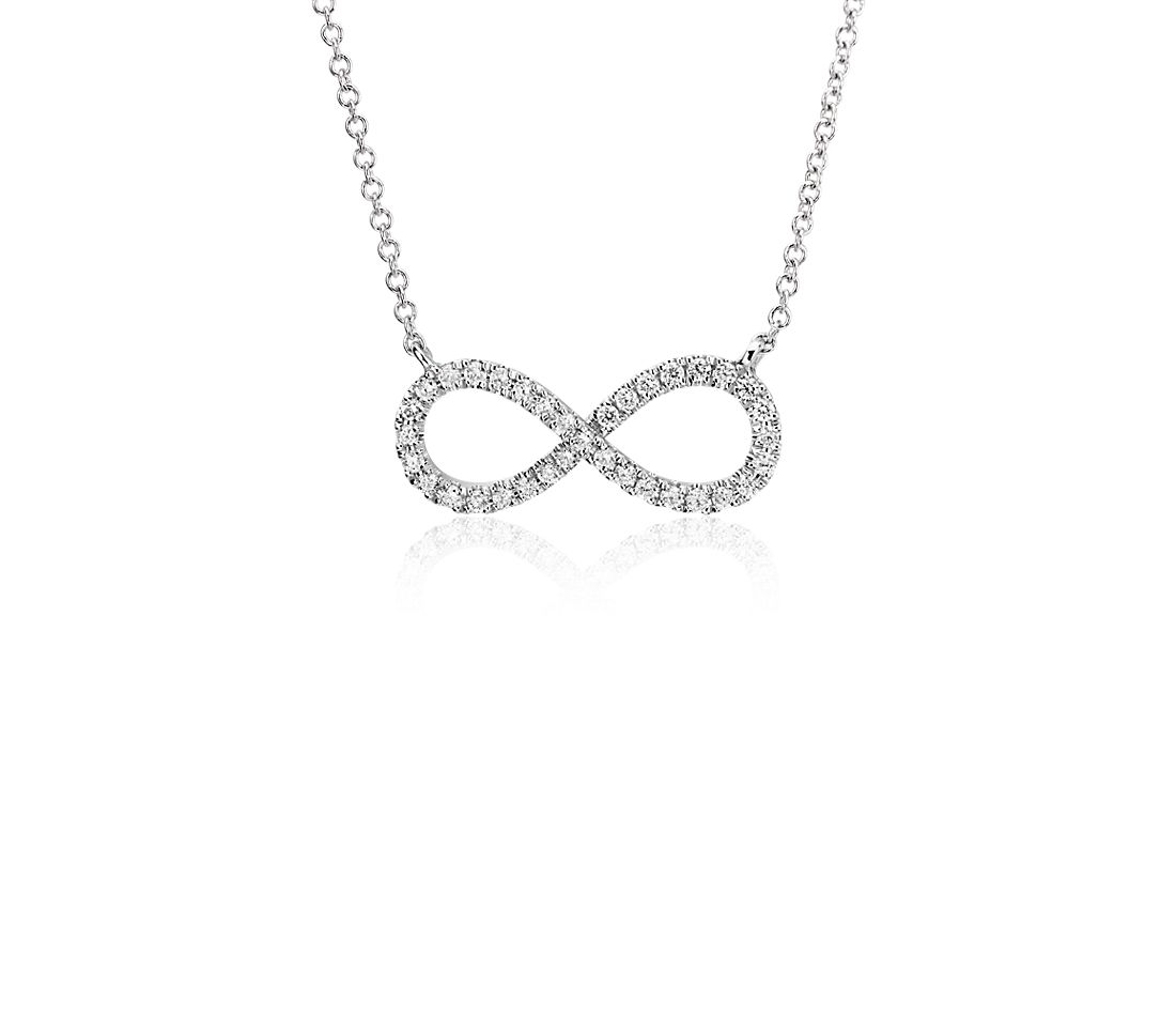 Diamond Infinity Necklace in 14k White Gold (1/4 ct. tw.)