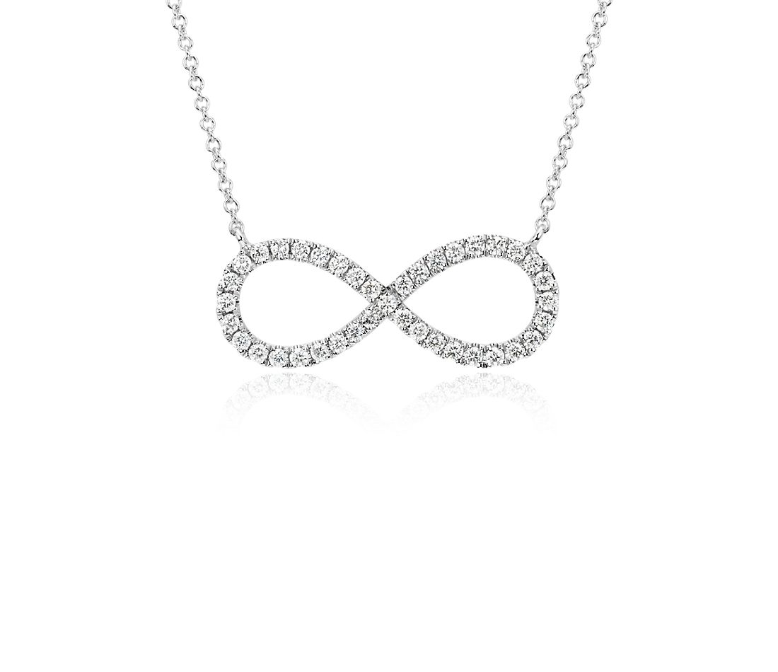 Diamond Infinity Necklace in 14k White Gold (1/2 ct. tw.)
