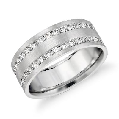 Double Inlay Diamond Wedding Ring in 14k White Gold 1 ct tw