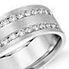 Double Inlay Diamond Wedding Ring in 14k White Gold (1 ct. tw.)