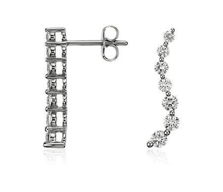 Curved Journey Diamond Earrings In 18k White Gold 1 Ct Tw